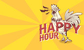 Happy Hour Vintage Influenced Poster Design With Crowing Rooster Drawing.