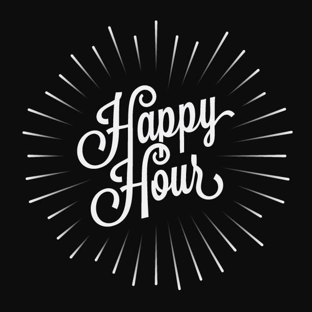黒の背景にハッピーアワーヴィンテージレタリング - 飲み会点のイラスト素材/クリップアート素材/マンガ素材/アイコン素材