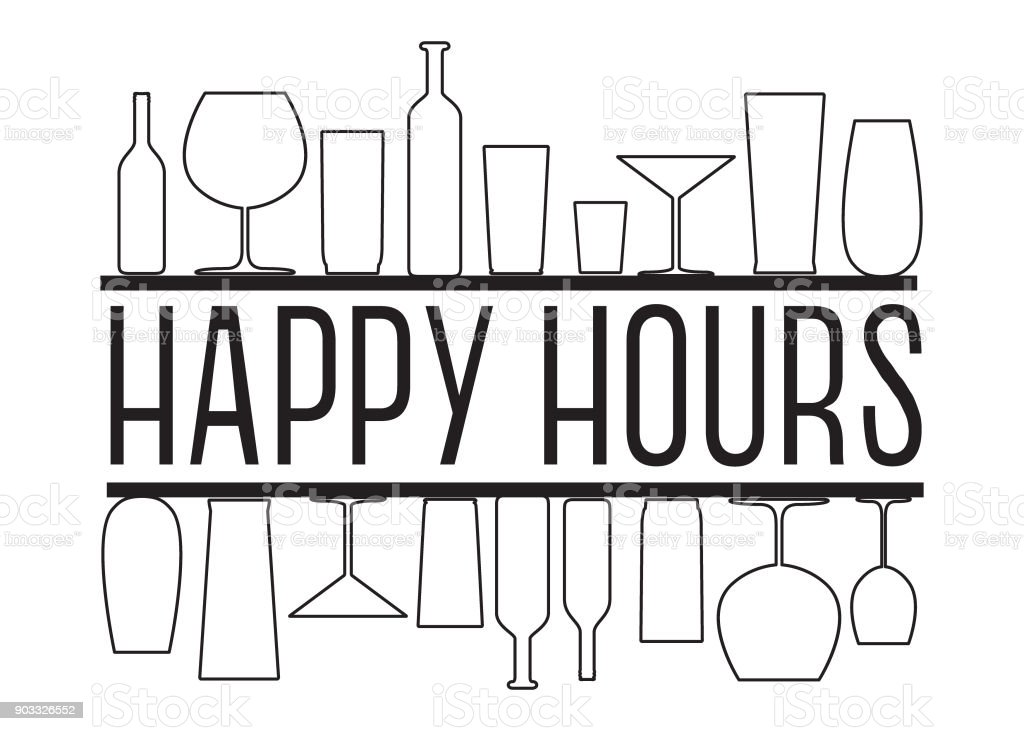 Happy hours black and white vector text with countour glasses and bottles on the bar shelves. vector art illustration