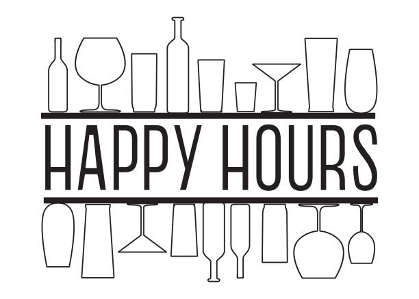 happy hours black and white vector text with countour glasses and bottles on the bar shelves. - happy hour stock illustrations, clip art, cartoons, & icons