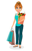 Happy housewife. Cheerful mother, beautiful woman. Cartoon character holds shopping bags. Vector illustration on white background.