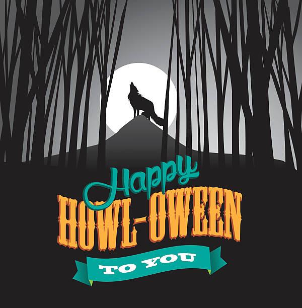 bildbanksillustrationer, clip art samt tecknat material och ikoner med happy howl-oween design. - hund skog