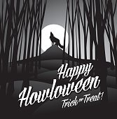 Happy howloween howling wolf and full moon