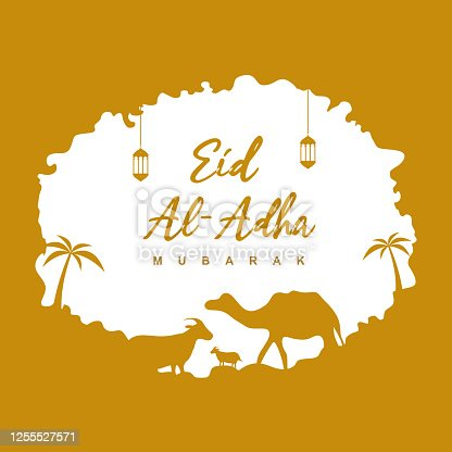 istock Happy Ied al Adha design for web, greeting card, poster, ad, promotion. Celebration of Muslim the sacrifice a camel, sheep, cow and goat. Ied Mubarak, religious and faith concept flat vector 1255527571
