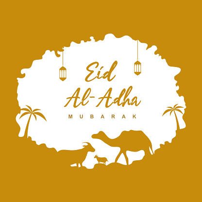 Happy Ied al Adha design for web, greeting card, poster, ad, promotion. Celebration of Muslim the sacrifice a camel, sheep, cow and goat. Ied Mubarak, religious and faith concept flat vector
