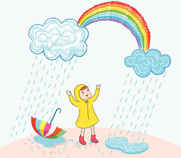happy in rain - kids playing in rain stock illustrations, clip art, cartoons, & icons