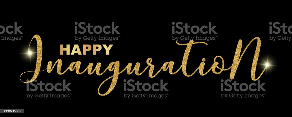 Happy Inauguration Handwritten Festive Text Isolated On