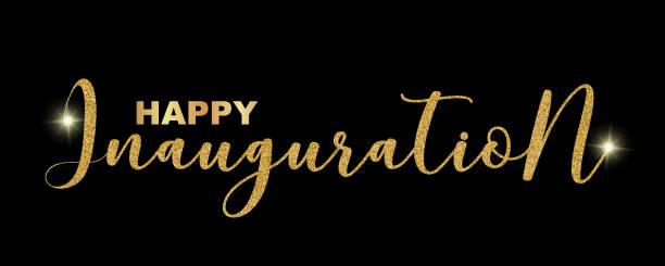 happy inauguration handwritten festive text isolated on black background, vector illustration. hand drawn lettering, sparkles, creative graphic design for banners, invitations, greeting cards. - inauguration stock illustrations