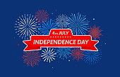 Happy Independence Day 4th of July. Banner on festive fireworks background. Vector design.