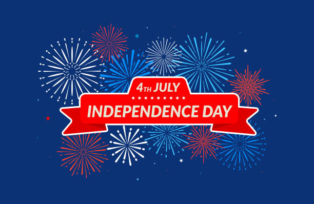 happy independence day 4th of july. banner on festive fireworks background. - may day stock illustrations, clip art, cartoons, & icons