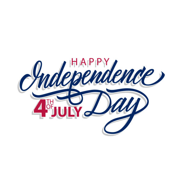 happy independence day, 4th of july calligraphic lettering design celebrate card template. creative typography for holiday greetings and invitations. - independence day stock illustrations