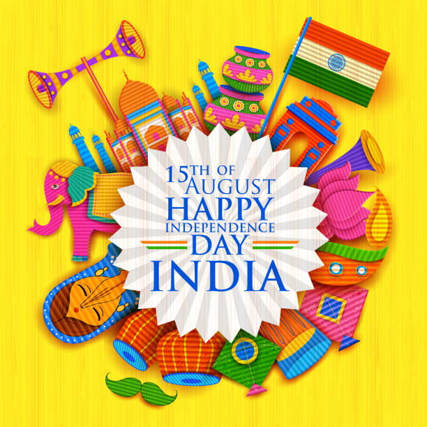 Happy Independence Day banner illustration of Happy Independence Day banner in Indian kitsch paper style tavla stock illustrations