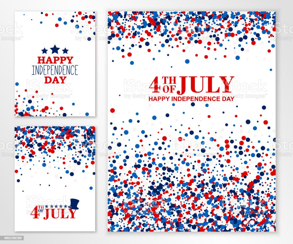 Usa Happy Independence Day Banners Set 4th July Festive Greeting