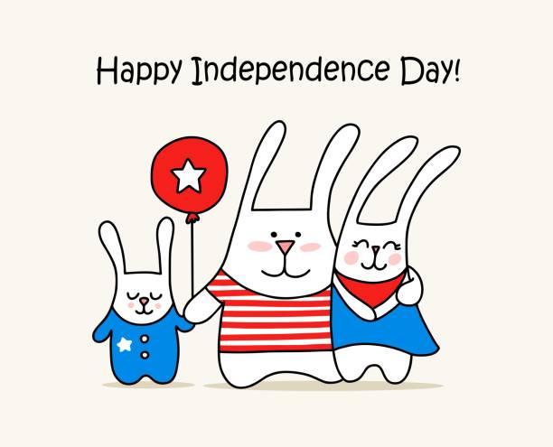 sevimli tavşan aile ve kırmızı balon ile mutlu bağımsızlık günü kartı. 4 temmuz vatansever vektör düz illüstrasyon hayvan kartı - family 4th of july stock illustrations
