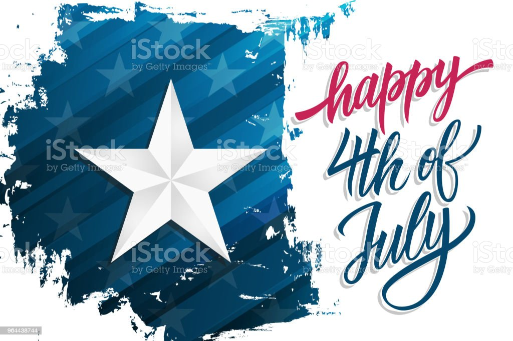 Happy Independence Day celebrate banner with silver star on brush stroke background and hand lettering text Happy 4th of July. United States national holiday. - Royalty-free American Culture stock vector