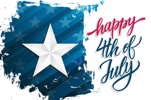 Happy Independence Day Celebrate Banner With Silver Star On Brush Stroke Background And Hand Lettering Text Happy 4th Of July United States National Holiday Stock Illustration - Download Image Now