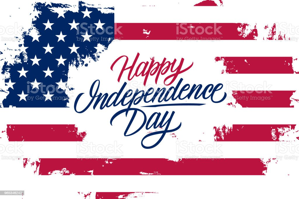 USA Happy Independence Day celebrate banner with United States national flag brush stroke background and hand lettering text design. royalty-free usa happy independence day celebrate banner with united states national flag brush stroke background and hand lettering text design stock vector art & more images of american culture