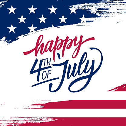 Happy Independence Day greeting card with brush stroke background in United States national flag colors and hand lettering text Happy 4th of July.