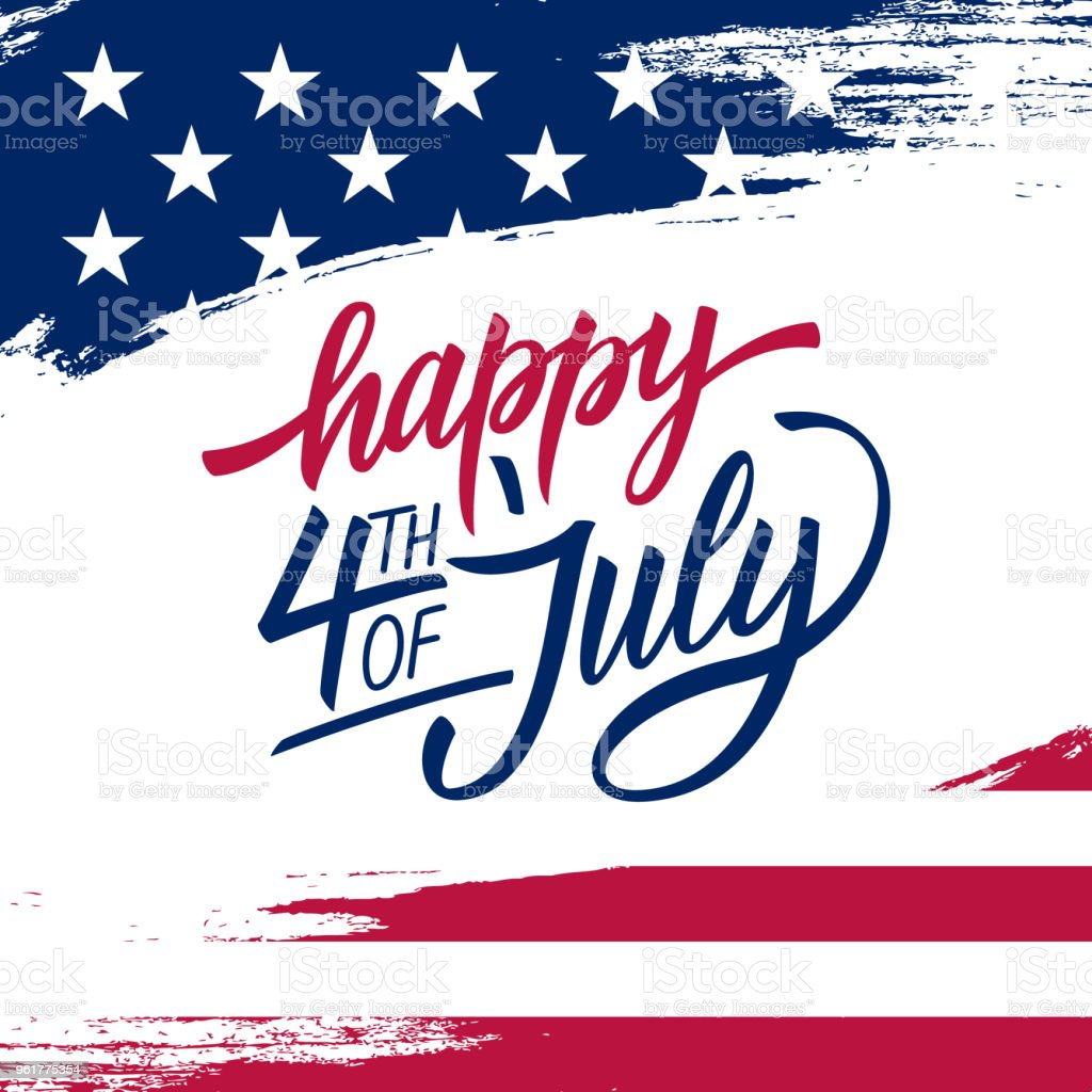 Happy Independence Day greeting card with brush stroke background in United States national flag colors and hand lettering text Happy 4th of July. vector art illustration