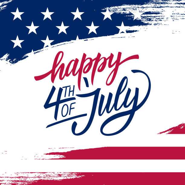 mutlu bağımsızlık günü tebrik kartı amerika birleşik devletleri ulusal bayrak renkleri ve yazı metin mutlu 4 temmuzlar el fırça konturu arka plan ile. - happy 4th of july stock illustrations