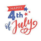 Happy Independence Day Greeting Card with Font. Vector
