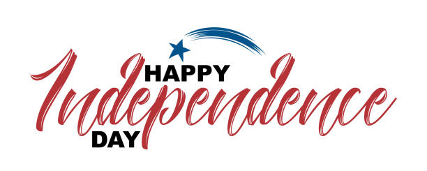 Happy Independence Day hand drawn quote isolated on white background, vector illustration. Handwritten calligraphic lettering, flying star icon, 4th of July concept for greeting cards, banners, flyers independence day holiday stock illustrations