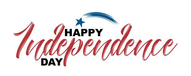 행복 한 독립 기념일 손으로 인용 그린 그림을 벡터 흰색 배경에 고립. - independence day stock illustrations