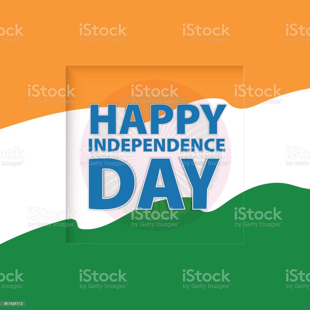 Happy Independence Day India Vector Illustration Greeting Card Stock