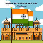 Vector poster of Independence day for India with Flag and Red fort Delhi