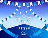 Happy Israel Independence Day! 2020 Jewish Holiday Traditional symbols Blue Star of David, Israeli flag white and blue color, heart shape. Patriotic Modern Design Memorial Day. 72 Anniversary Israel greeting card. Israel Happy Birthday banner. Celebrate, Tel Aviv Fireworks Festival Event Decoration. Invitation, auto post production filter Vector sign