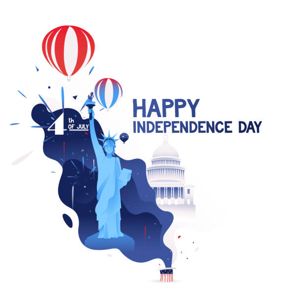 ilustrações de stock, clip art, desenhos animados e ícones de happy independence day of america. 4th of july independence day of usa.hot air balloon, the white house, firework, stars and the statue of liberty sings of independent united states of america - míssil terra ar