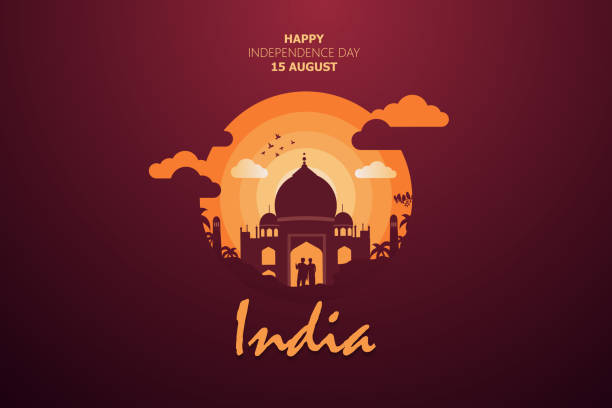 Happy Independence Day of India for 15th August. Famous monument of India in Indian background. Vector illustration EPS10 Happy Independence Day of India for 15th August. Famous monument of India in Indian background. Vector illustration EPS10 independence day illustrations stock illustrations