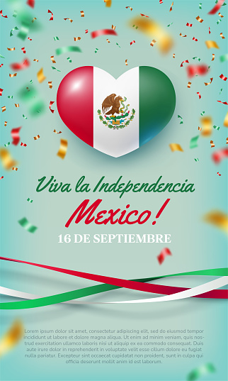 Happy independence day of Mexico heart shaped flag