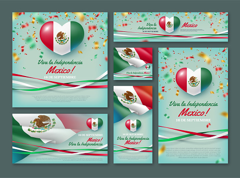Happy Independence day of Mexico vector banner set