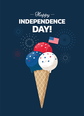 Happy Independence Day! Poster design with Ice cream cone and USA flag on blue background with holiday fireworks. - Vector illustration