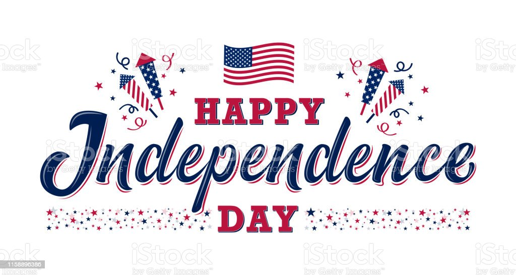 Happy Independence day sign. United states independence day Happy Independence day sign with stars, petards and american flag. 4th of July, United States independence day. Template design for poster, banner, flyer, greeting card. Vector illustration American Flag stock vector