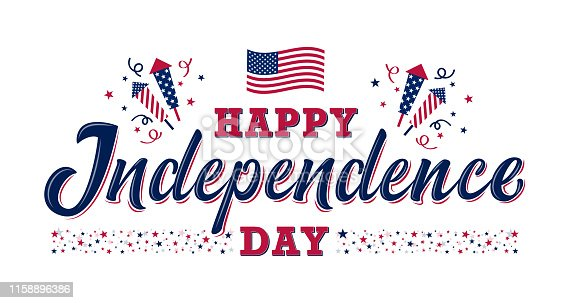 Happy Independence day sign with stars, petards and american flag. 4th of July, United States independence day. Template design for poster, banner, flyer, greeting card. Vector illustration