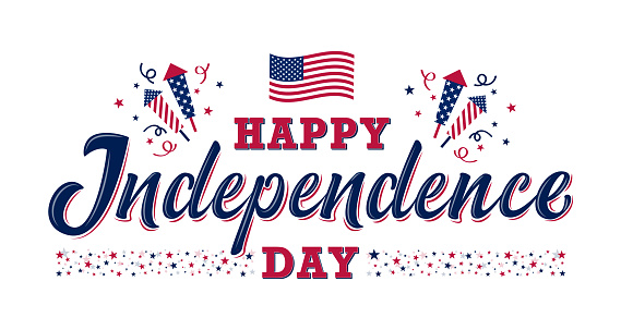 Happy Independence Day Sign United States Independence Day Stock Illustration - Download Image Now