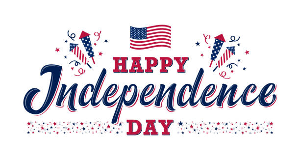 Happy Independence day sign. United states independence day Happy Independence day sign with stars, petards and american flag. 4th of July, United States independence day. Template design for poster, banner, flyer, greeting card. Vector illustration independence day holiday stock illustrations