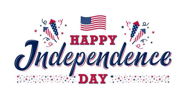 獨立日快樂標誌。美國獨立日 - happy 4th of july 幅插畫檔、美工圖案、卡通及圖標