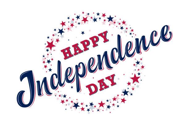 ilustraciones, imágenes clip art, dibujos animados e iconos de stock de feliz signo del día de la independencia con estrellas rojas y azules. 4 de julio - independence day