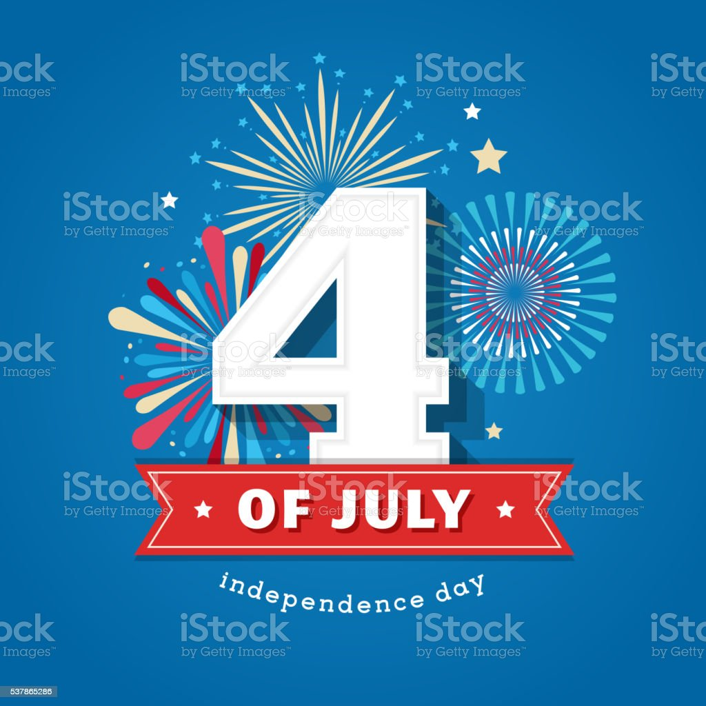 Happy independence day, United States of America, 4 th July vector art illustration