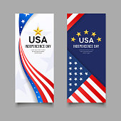 Happy independence day vector, america flag vertical banners collection design background, illustration