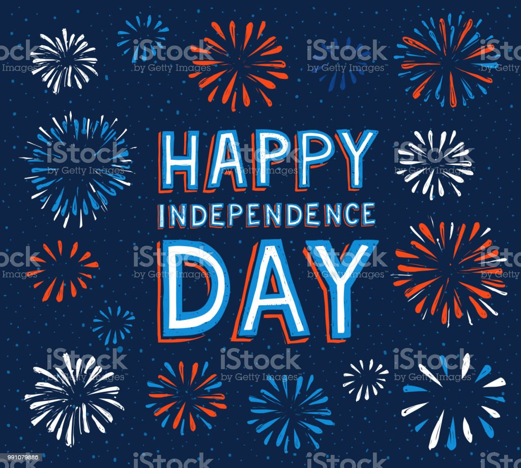 happy independence day with fireworks happy independence day with fireworks. Vector illustration, eps.10 Backgrounds stock vector