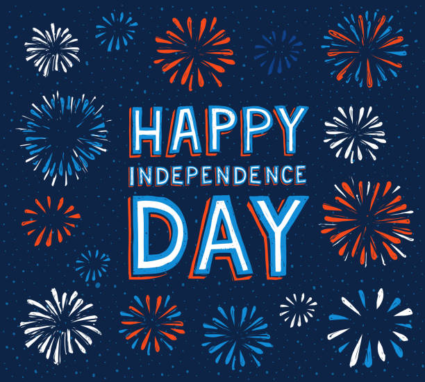 happy independence day with fireworks happy independence day with fireworks. Vector illustration, eps.10 independence day illustrations stock illustrations