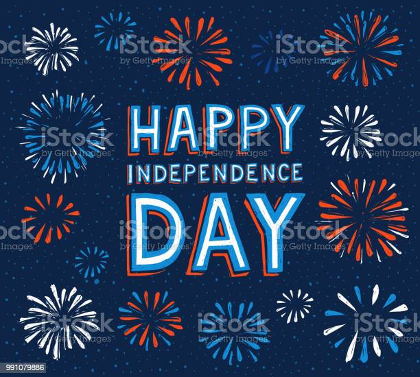 Happy Independence Day With Fireworks Stock Illustration - Download Image Now