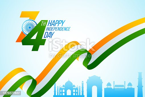 istock Happy Indian Independence Day celebration. National tricolor ribbon for 15 August with Taj Mahal, India Gate, Red Fort and Kutub Minar on sky blue background 1329372832