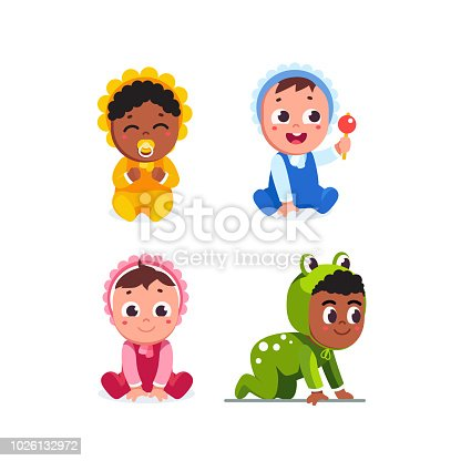 Smiling infant baby children sitting, crawling wearing romper. Happy toddler babies playing with rattle toy and sucking dummy. Cartoon baby characters set. Flat vector toddler illustration isolated on white background.