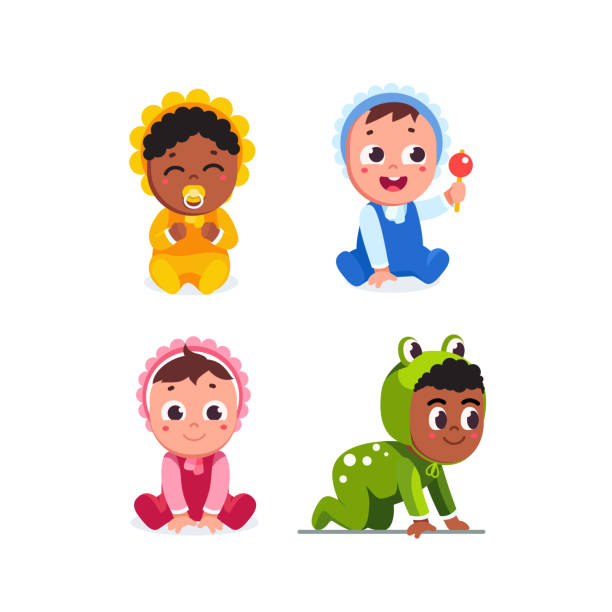 Happy infant baby children sitting, crawling wearing romper, playing with rattle toy and sucking dummy. Toddlers cartoon characters set. Flat vector clipart illustration. Smiling infant baby children sitting, crawling wearing romper. Happy toddler babies playing with rattle toy and sucking dummy. Cartoon baby characters set. Flat vector toddler illustration isolated on white background. baby clothing stock illustrations