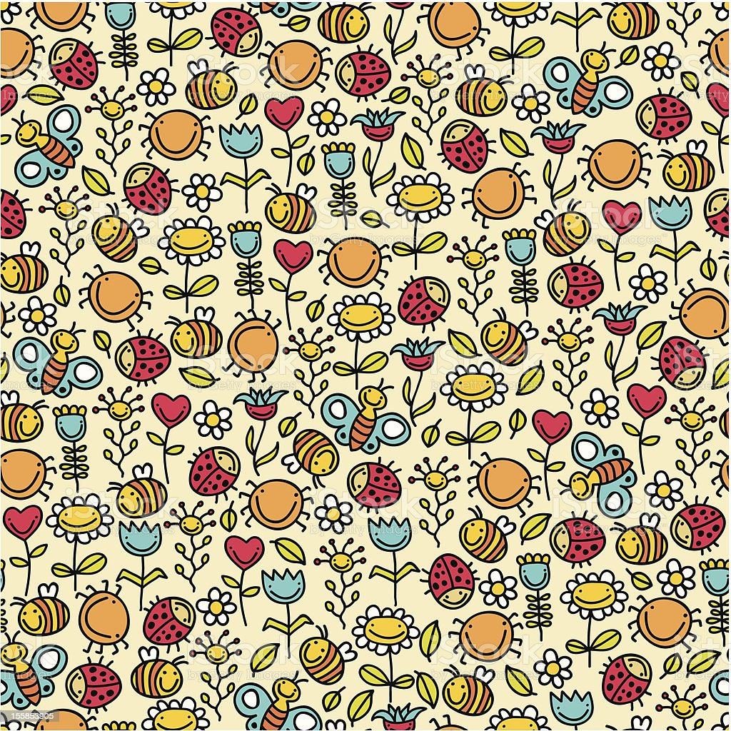Happy insects seamless pattern. royalty-free stock vector art